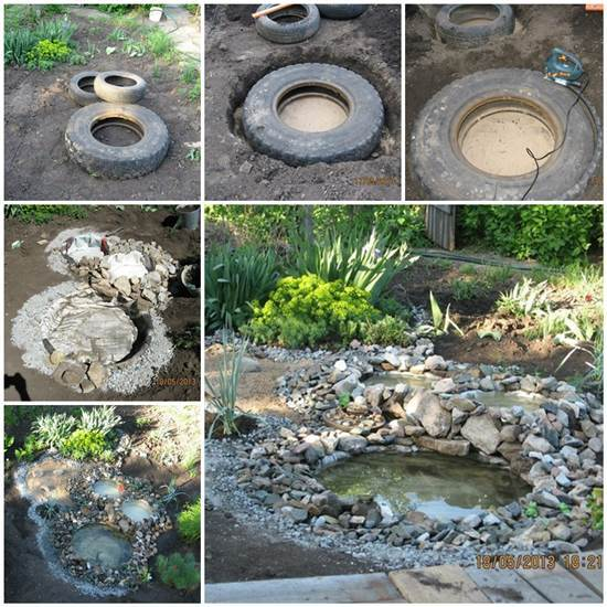 DIY Garden Ponds from Old Tires
