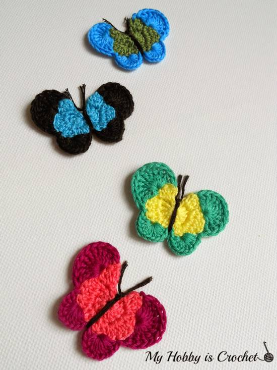DIY Lovely Colorful Crochet Butterflies --> Crochet Butterfly Applique