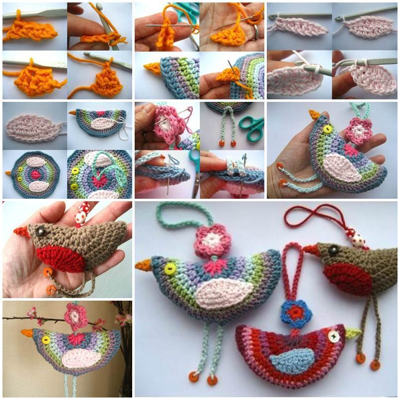Diy lovely crochet birdie decoration for Crochet decorations for home