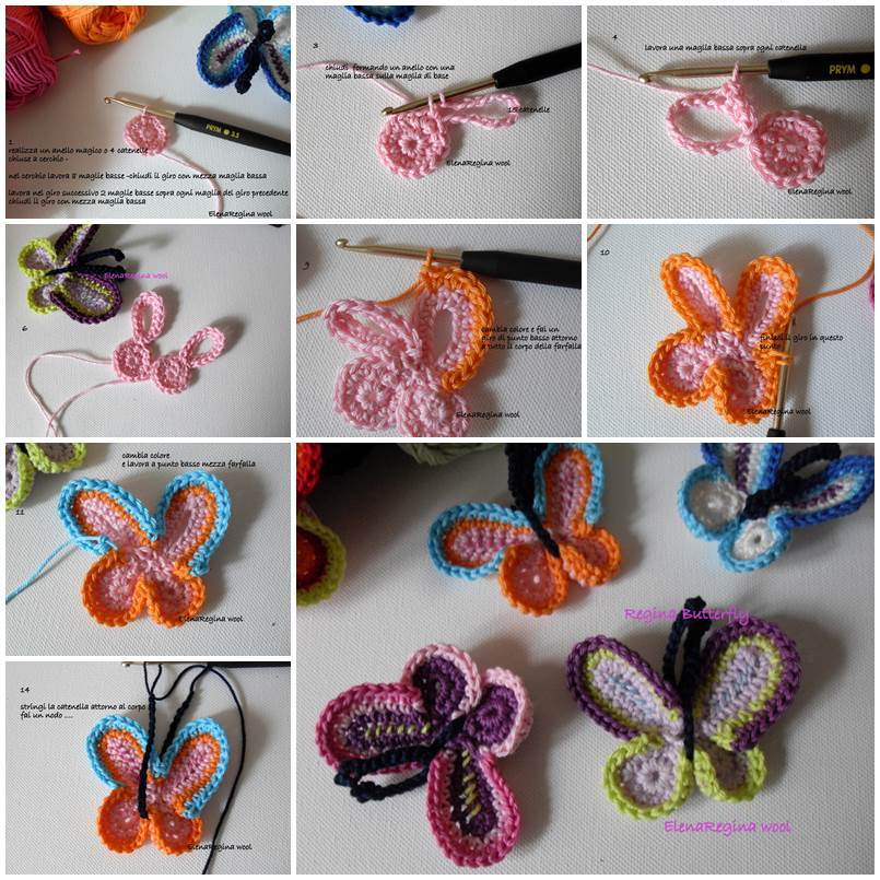 Diy Lovely Colorful Crochet Butterflies