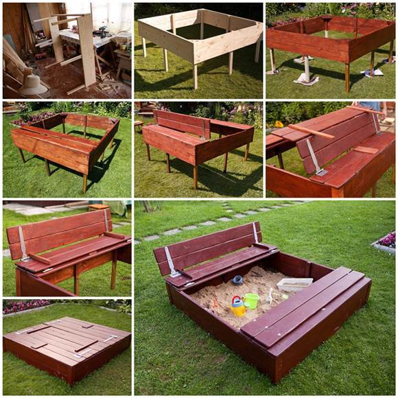 Creative Ideas Diy Covered Sandbox With Benches