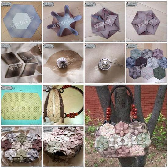 Diy origami lotus flower patchwork handbag for How to make a lotus with paper