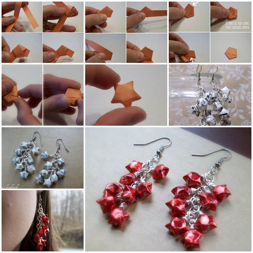 Diy Origami Lucky Star Earrings