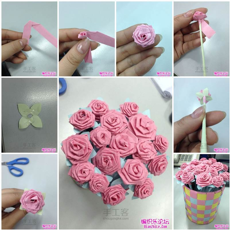 DIY Origami Rose Bouquet - photo#5
