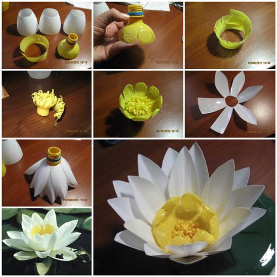 DIY Plastic Bottle Water Lily 3