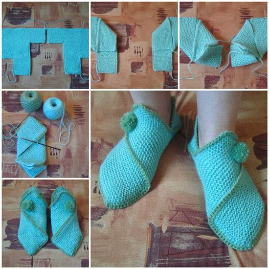 Knitting Pattern For House Socks : DIY Pretty Knitted Home Slippers