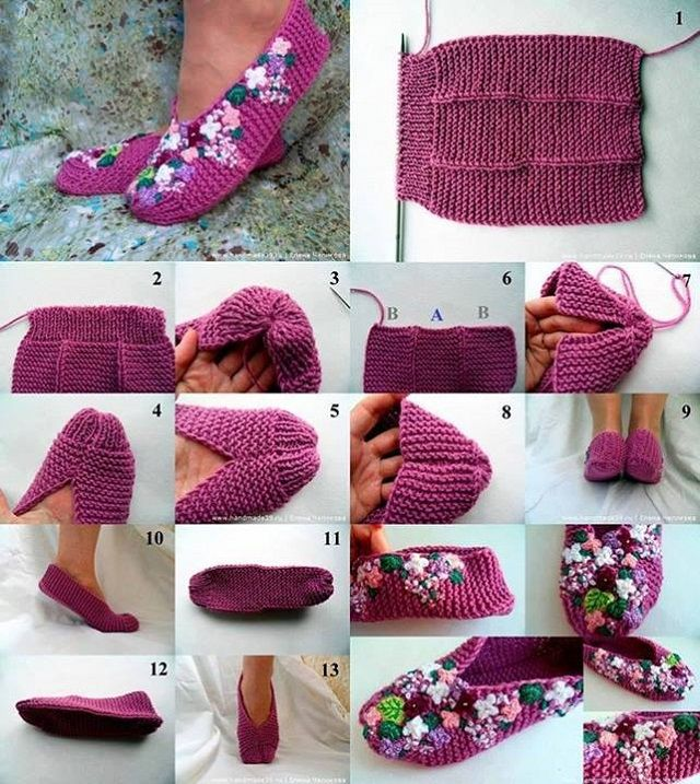 DIY Pretty Knitted Lilac Slippers