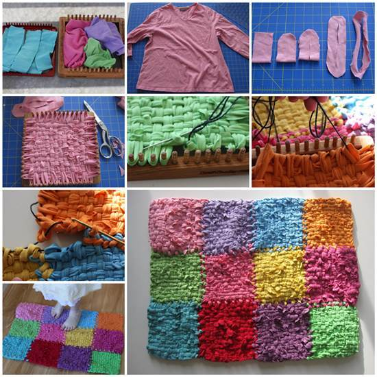 DIY Rainbow Color Patch Rug From Old Sweatshirts