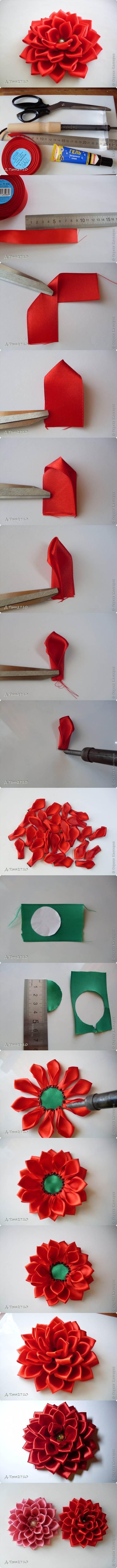 DIY Satin Ribbon Dahlia Petals 2