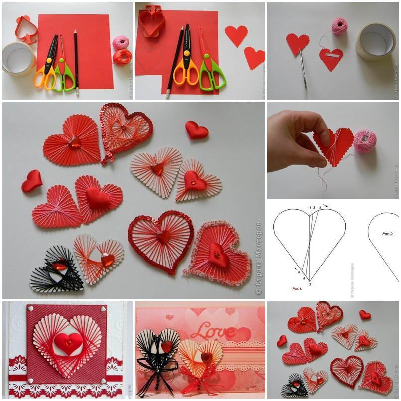 Diy unique yarn heart decoration for Heart decorations home