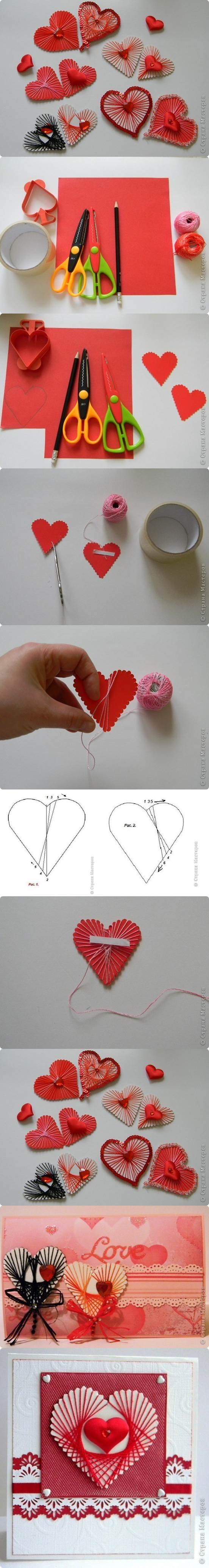 DIY Unique Yarn Heart Decoration 2