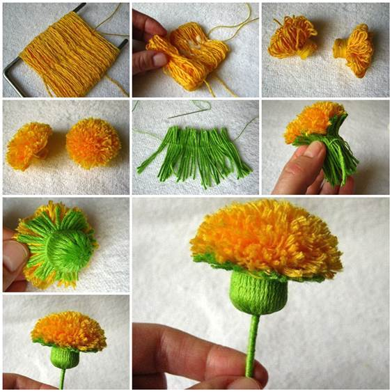 DIY Wool Yarn Dandelion