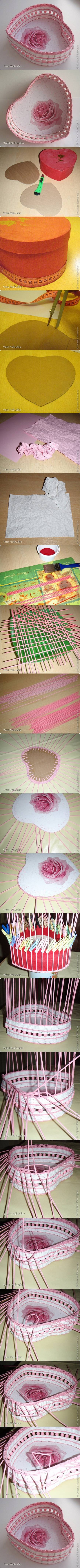 DIY Woven Paper Heart Shaped Basket 2