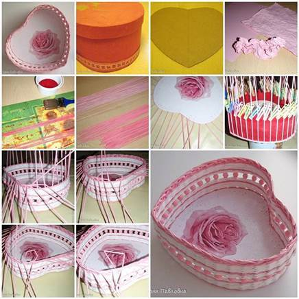 DIY Woven Paper Heart Shaped Basket 3