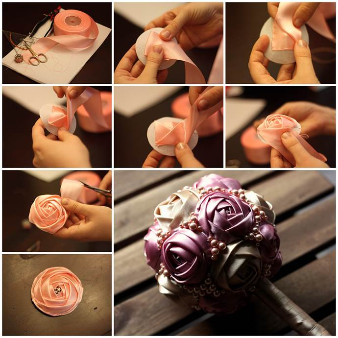 Wedding DIY - Satin Ribbon Rose Bouquet