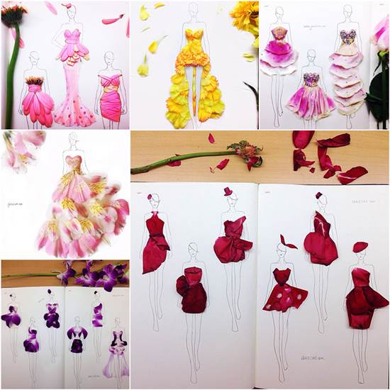 creative fashion design sketches using real flower petals - Fashion Design Ideas