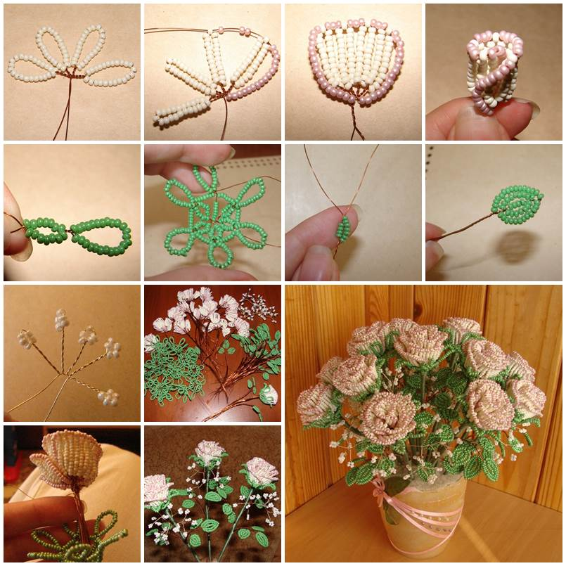 DIY Beautiful Beaded Rose Bouquet