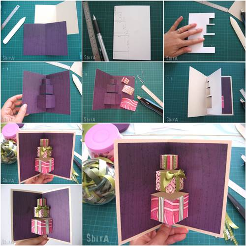 How to diy 3d gift box pop up card bookmarktalkfo Image collections