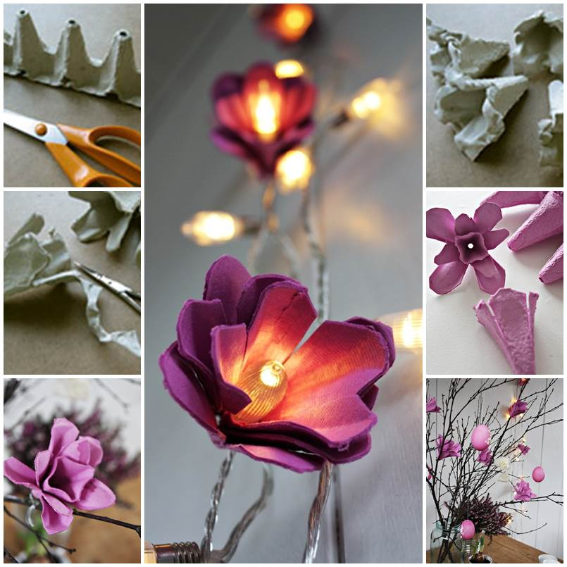 How to DIY Beautiful Flower Light from Egg Carton