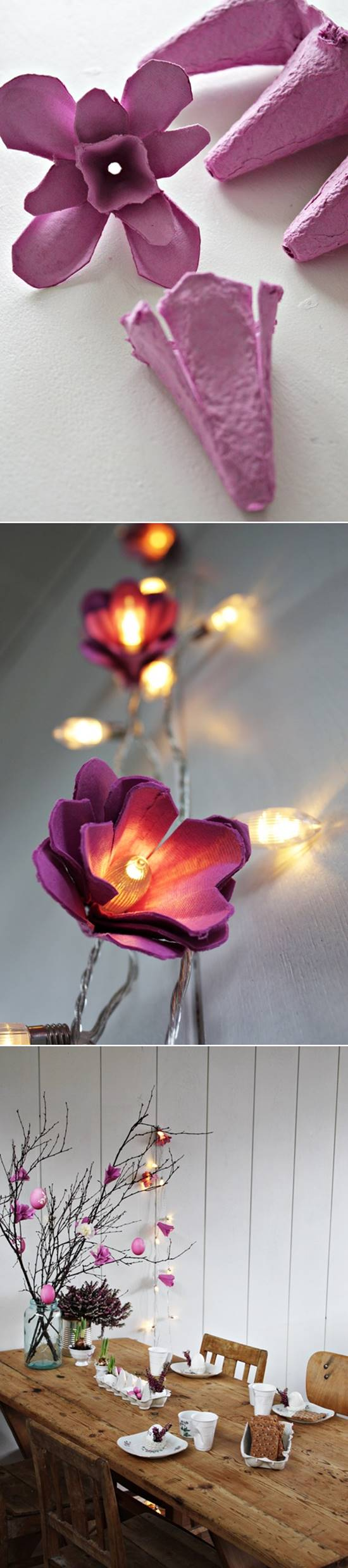 How to Make Beautiful Flower Lights from Egg Cartons