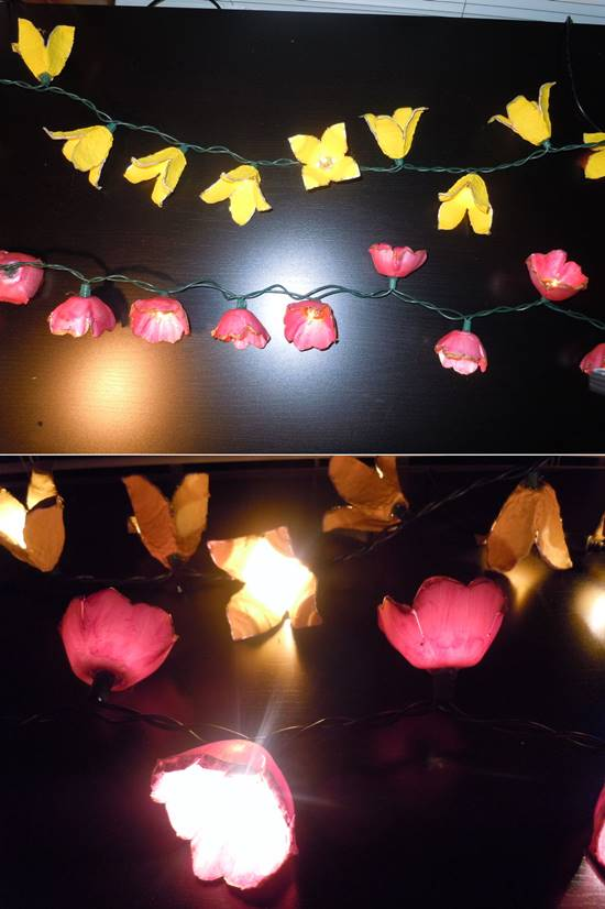 How to Make Egg Carton Flower Lights