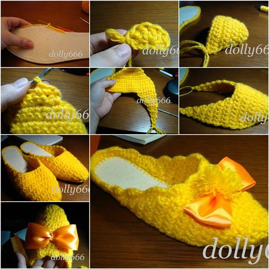 How to DIY Pretty Crochet Home Slippers