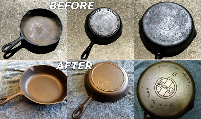 how to diy recondition rusty cast iron cookware. Black Bedroom Furniture Sets. Home Design Ideas
