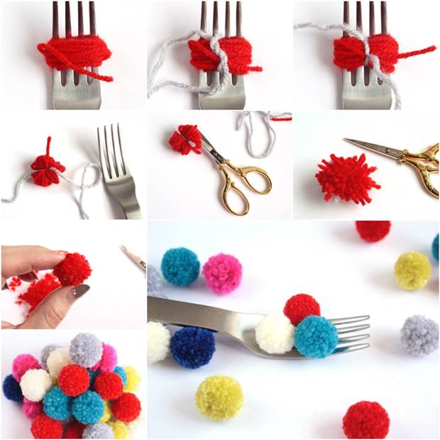 How To DIY Small Pom Poms With A Fork