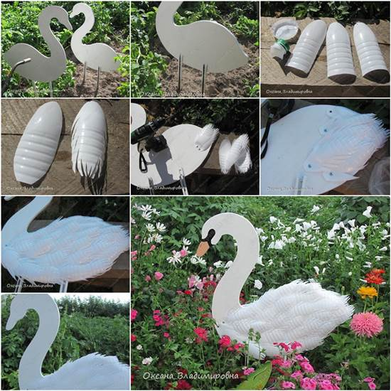 How to diy swan garden decor from plastic bottles for Recycled decoration