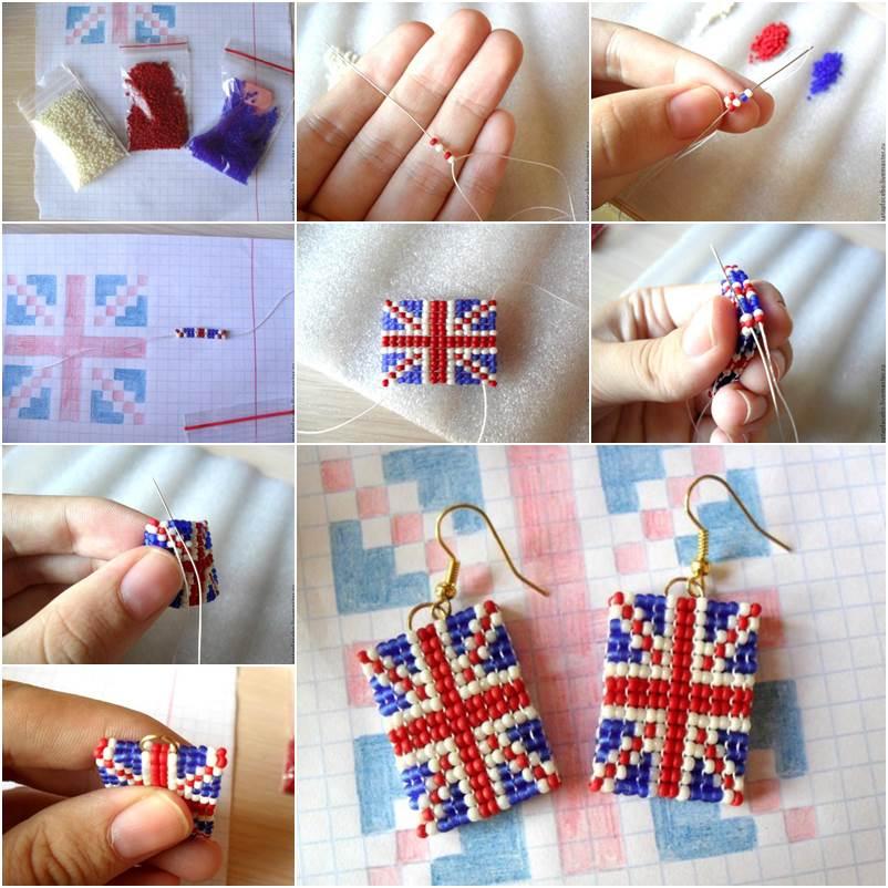 How To Diy Union Jack Beaded Earrings
