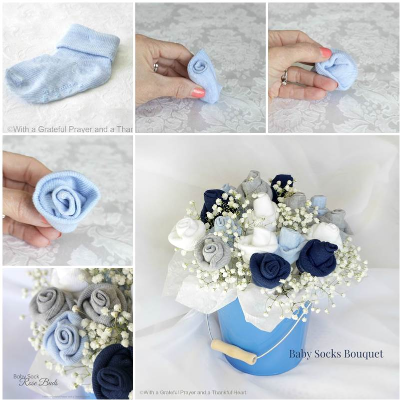 How to diy baby clothes flower bouquet how to make baby socks flower bouquet thumb negle Image collections
