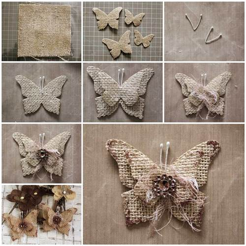 How to make beautiful burlap butterflies for What to make with burlap