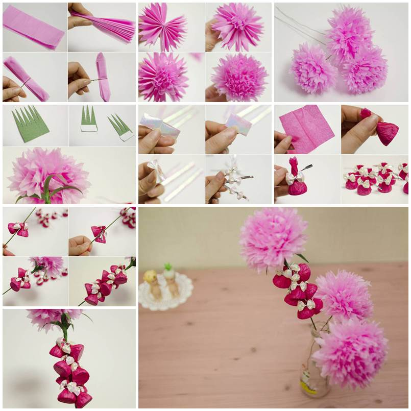 How to make beautiful crepe paper flowers and chocolates for Flower making at home