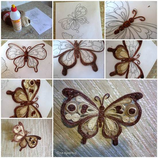 How to Make Beautiful Filigree Butterfly with Yarn