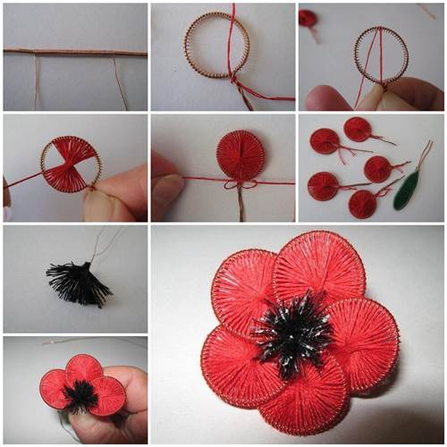 How to make beautiful flowers from wire and thread for Make flower craft ideas