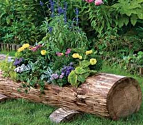 How to Make Beautiful Log Garden Planter 5