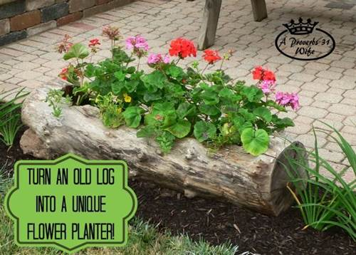 How To Make Beautiful Log Garden Planter 7