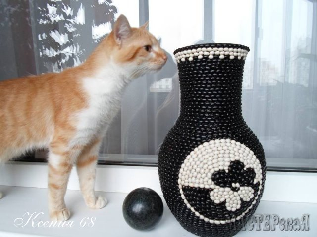 How To Make Black And White Beans Decorated Vase