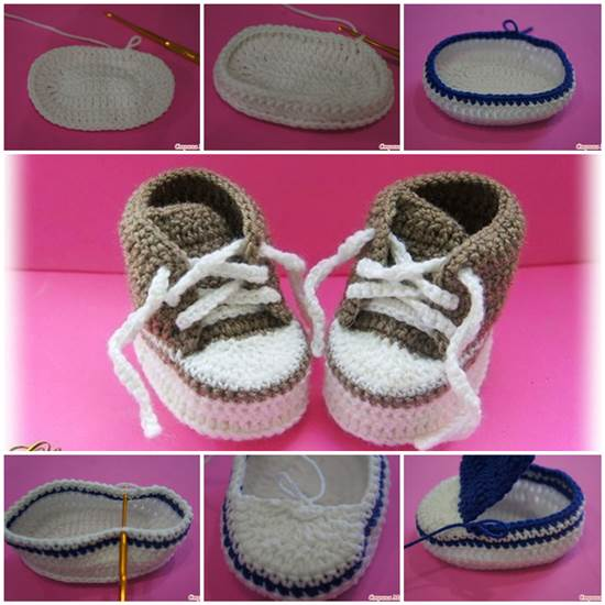 84d77beb4e How to Make Cute Crochet Baby Sneakers