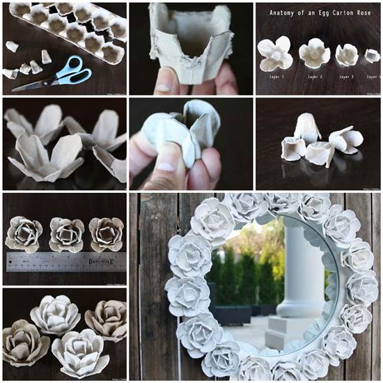 How To Make Pretty Flower Mirror Decoration From Egg Carton Magnificent How To Decorate Egg Tray