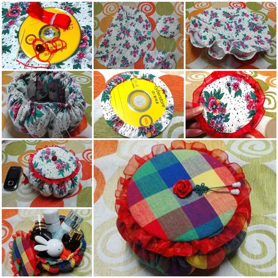 How to Make a Pretty Storage Basket with Old CDs