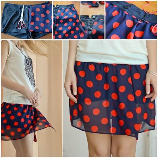 How To Refashion Old Shorts Into Polka Dot Chiffon Skirt