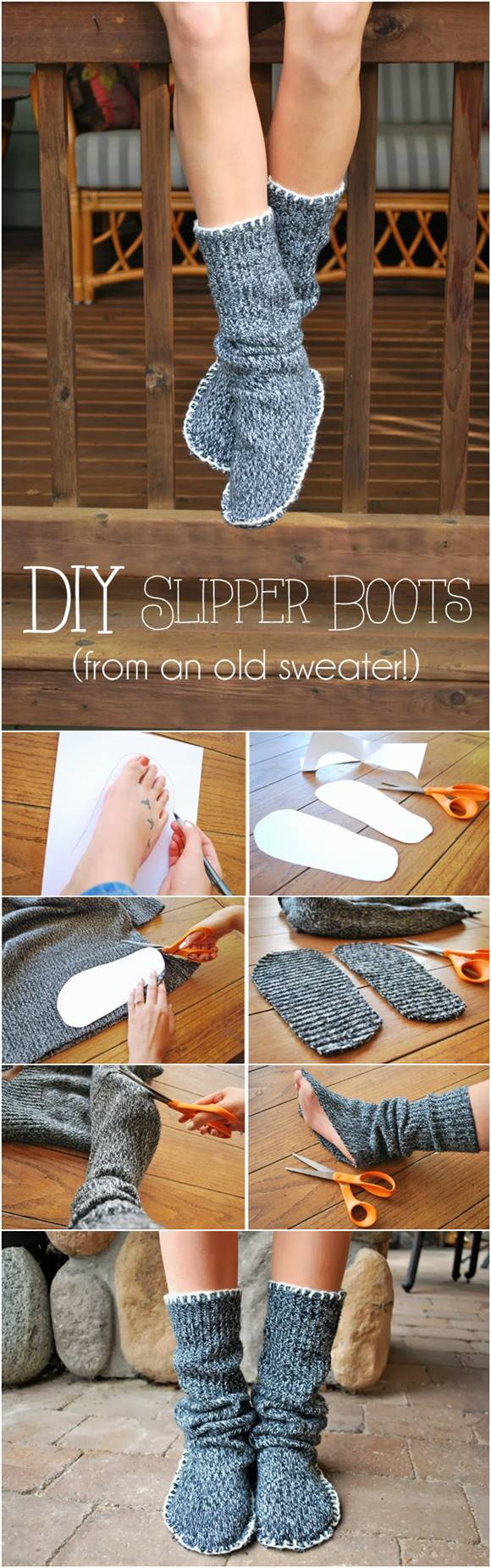 How To Upcycle Old Sweater Into Slipper Boots