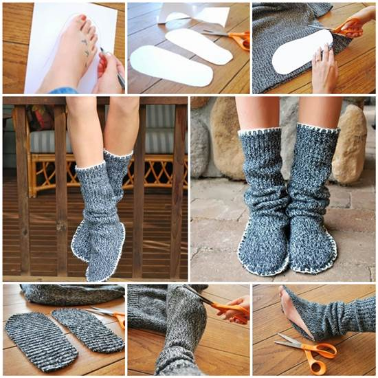 How To Diy Upcycle Old Sweater Into Cozy Slippers