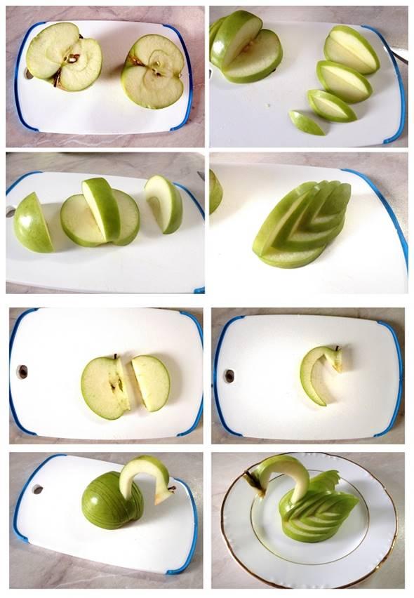 10 Creative DIY Fruit Art --> Apple Swan