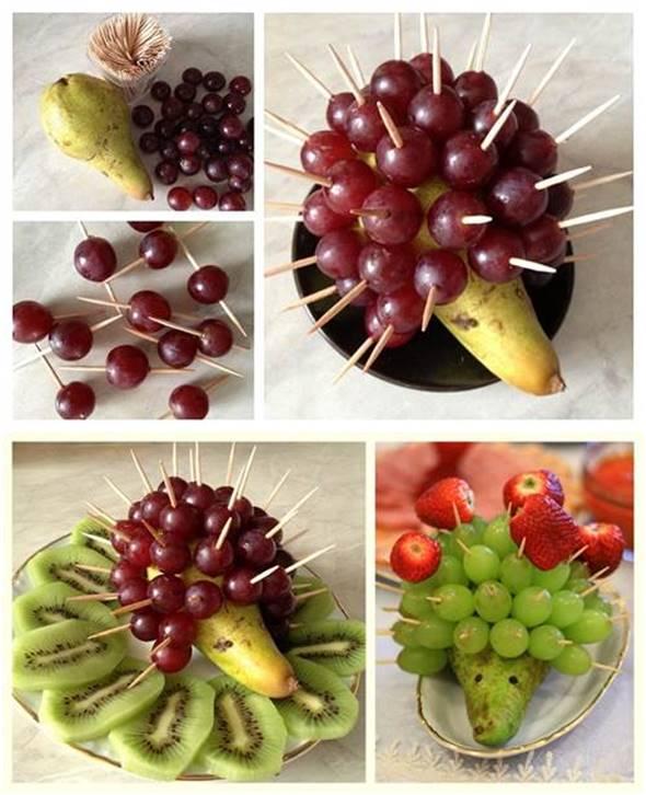 10 Creative DIY Fruit Art --> Fruit Hedgehog