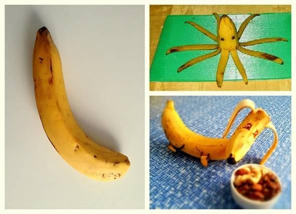 10 Creative DIY Fruit Art --> Banana Octopus and Puppy
