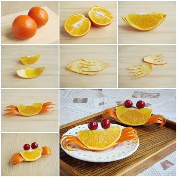 10 Creative DIY Fruit Art --> Orange Crab