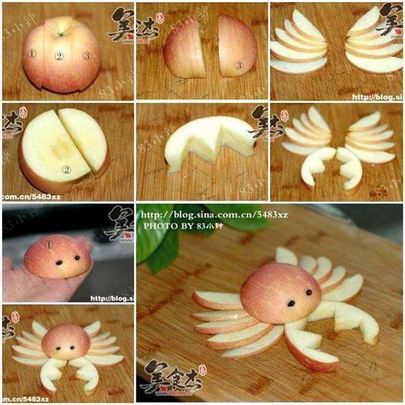 10 Creative DIY Fruit Art --> Apple Crab