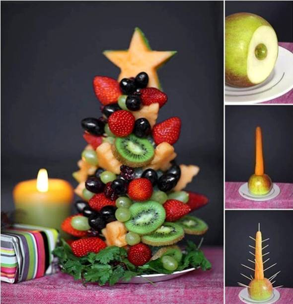 10 Creative DIY Fruit Art --> Fruit Christmas Tree